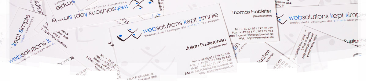 Vistitenkarten webks: websolutions kept simple