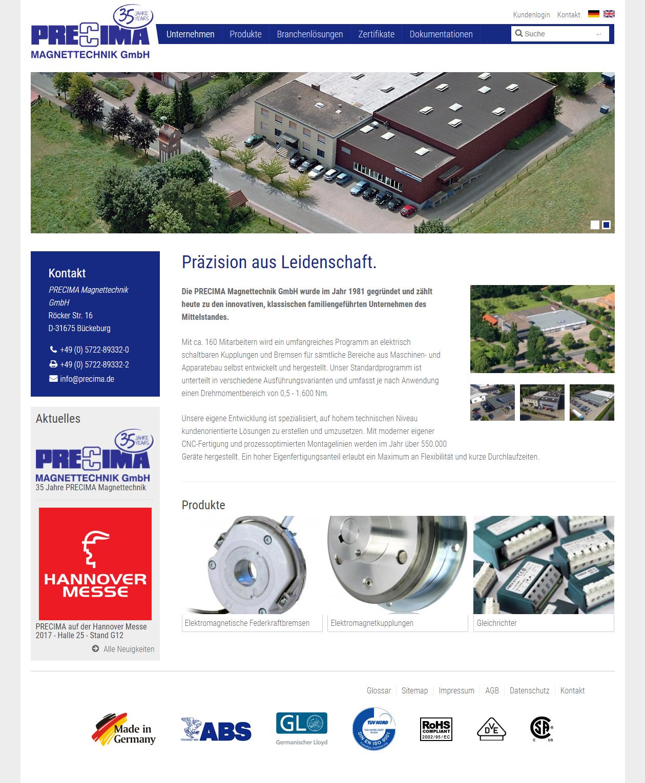 Precima.de Desktop Frontpage