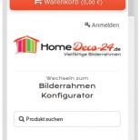 Darstellung auf dem Smartphone im Homedeco-24 Bilderrahmen Onlineshop