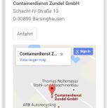 Containerdienst Zundel aus Barsinghausen bei Hannover - Seite Kontakt auf einem Smartphone