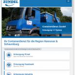 Containerdienst Zundel aus Barsinghausen bei Hannover - Startseite auf einem Tablet