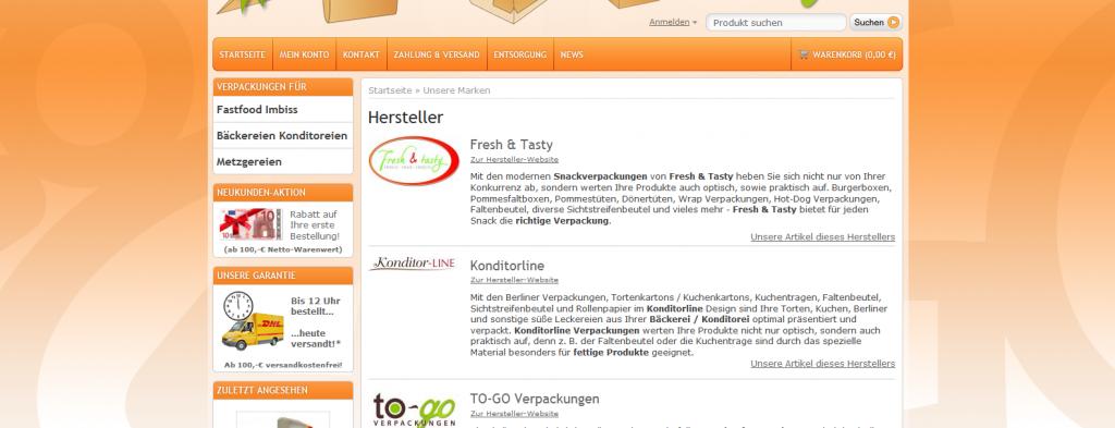 Suchmaschinenmarketing und -werbung TO-GO Verpackungen SEO / SEM