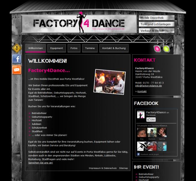 Webdesign & Social Media Integration Factory4Dance