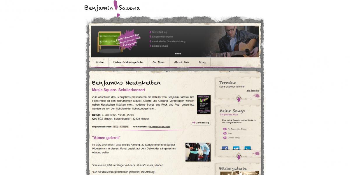 Drupal 7 Webdesign Benjamin Sazewa Musiker Blog