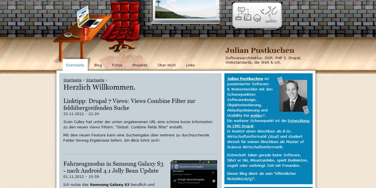 Drupal Webdesign Julian Pustkuchen privater Blog / Weblog