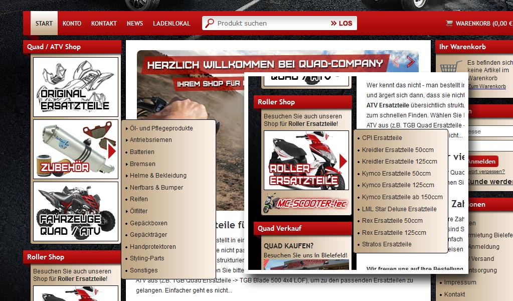 Onlineshop Webdesign Quad-Company Individualentwicklung JTL-Shop3 Plugin Menü