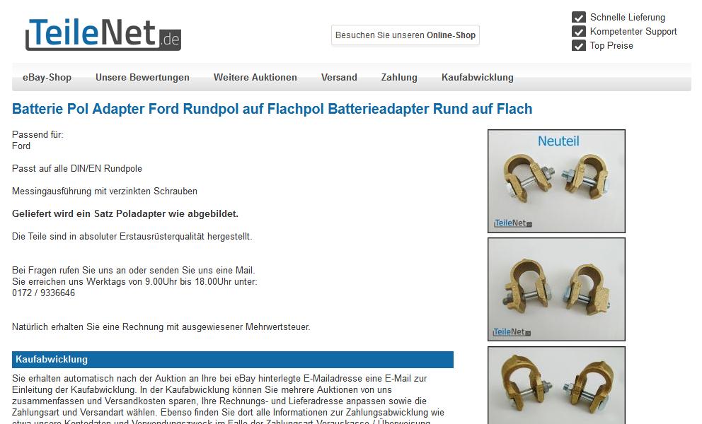 Teilenet.de JTL Shop eBay Template Erstellung eazyAuction