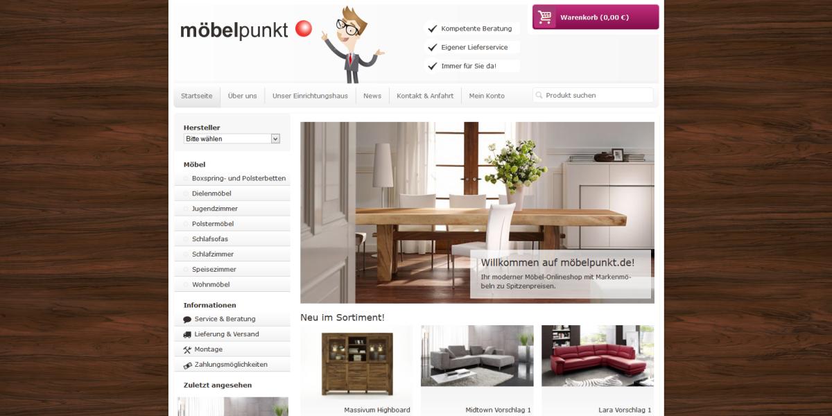 möbelpunkt.de JTL-Shop Webdesign Startseite auf einem Desktop PC