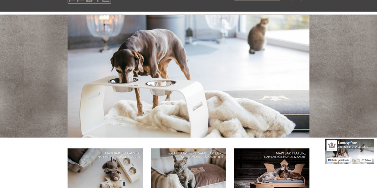Luxus-Pfote.com: Drupal 7 Commerce Responsive Online-Shop Startseite