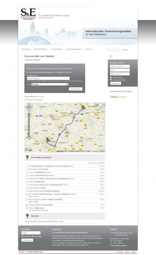 Webdesign Drupal Internetauftritt - Dr. Schmidt und Erdsiek Gruppe