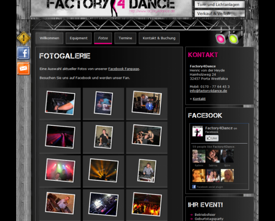 Webdesign & Social Media Integration Factory4Dance aus Porta Westfalica