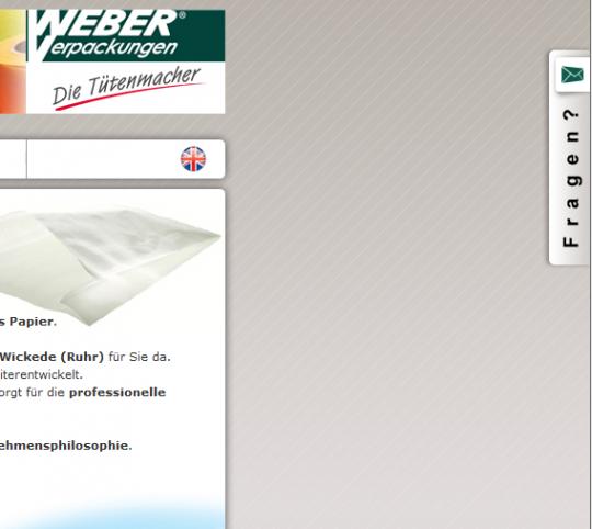 Weber-Verpackungen.de - Webdesign Kontakt Layer