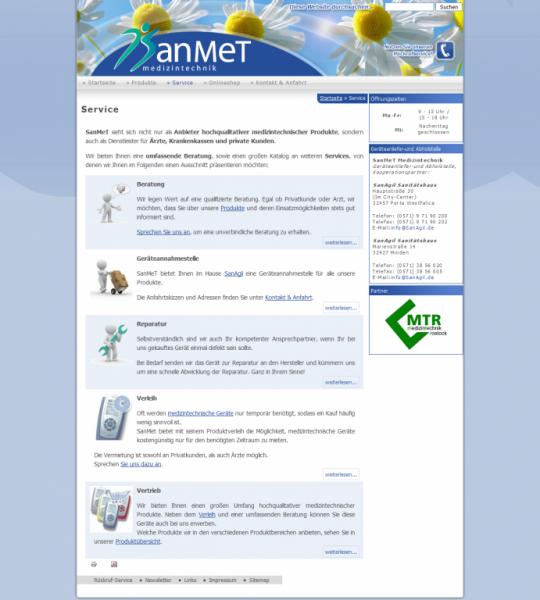 Drupal CMS Webdesign SanMet Medizintechnik Porta Westfalica