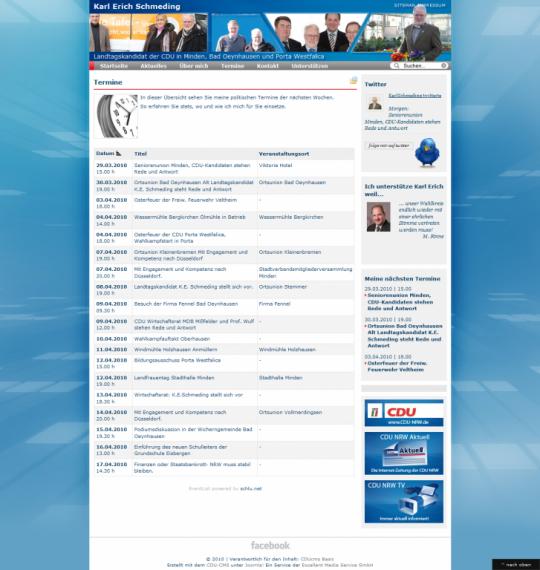 Webdesign Joomla Internetauftritt Wahlkampf Karl Erich Schmeding