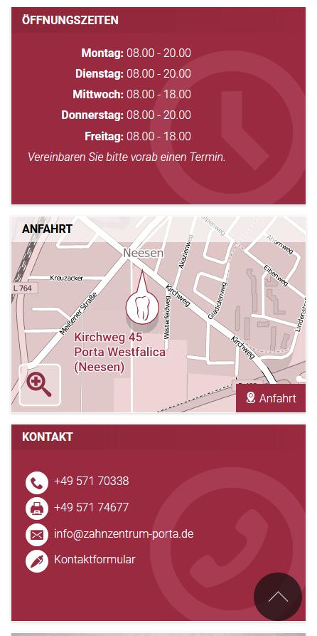 Startseite, Smartphone: Kacheln Öffungszeiten, Anfahrt und Kontakt