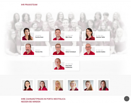 Startseite: Team Vorstellung