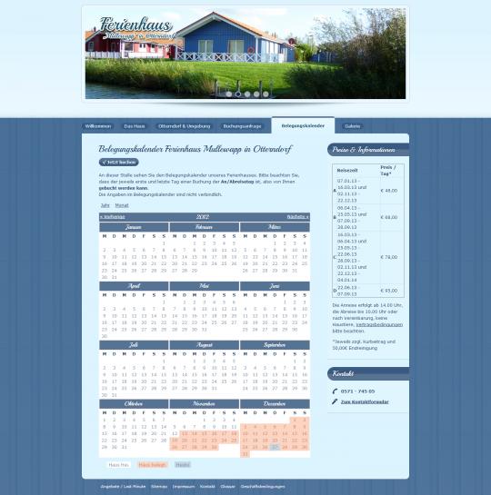Der individuell erstellte Drupal 6 CMS Buchungskalender zeigt übersichtlich die aktuelle Belegung des Ferienhauses an.