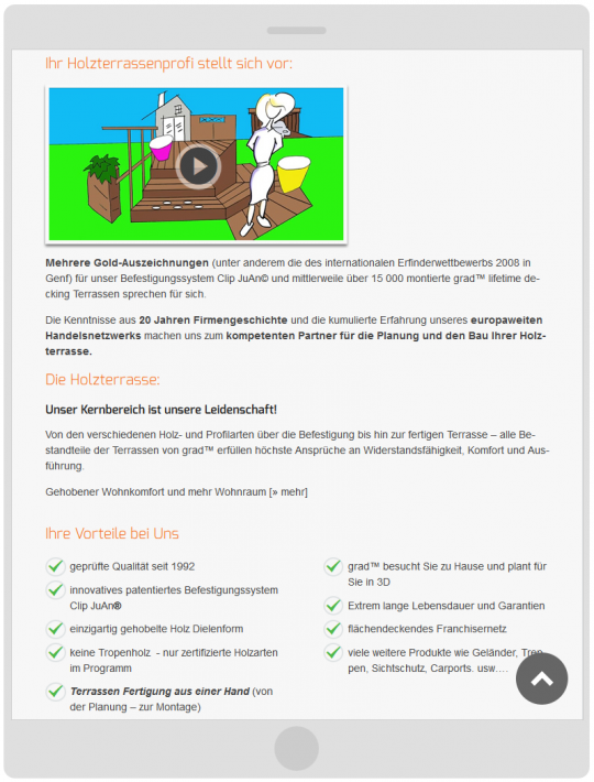 Drupal CMS Responsive Webdesign Tablet Optimierung