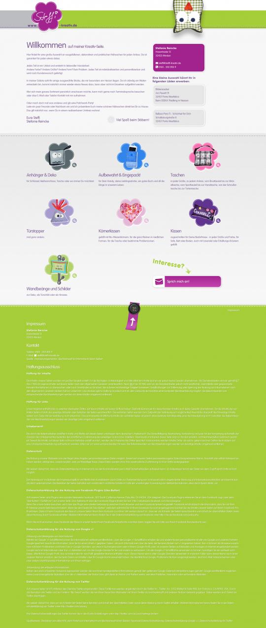 Webdesign Steffi-Kreativ.de - PC Ansicht