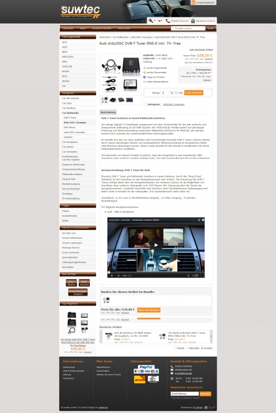 JTL-Shop3 Template Design - suwtec Navigation und Fahrzeugtechnik