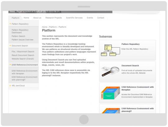 Programmierung Drupal 7 CMS Online-Forschungsplattform Tabletansicht