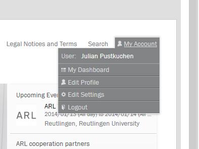 Programmierung Drupal 7 CMS Online-Forschungsplattform Benutzermenü