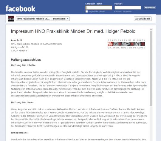 webks Facebook Impressum Hosting für Social Media Kunden
