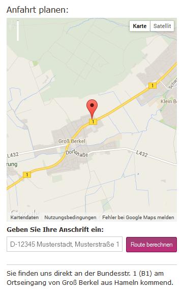 möbelpunkt.de Webdesign Anfahrtsplaner