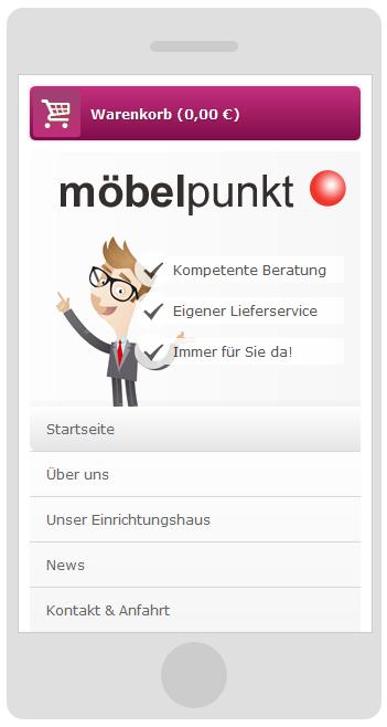möbelpunkt.de Webdesign Startseite auf einem Smartphone