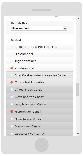 möbelpunkt.de Webdesign Kategorie-Navigation auf einem Smartphone