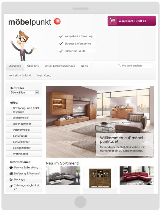 möbelpunkt.de Webdesign Startseite auf einem kleinen Tablet PC