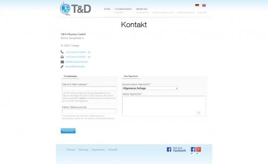 Kontaktseite TD-Pharma.de Drupal 7 Webdesign
