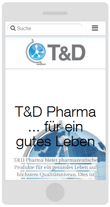 Darstellung auf dem Smartphone TD-Pharma.de Drupal 7 Webdesign