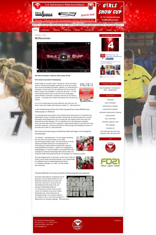 Girlssnowcup.de Webdesign Startseite Desktop PC