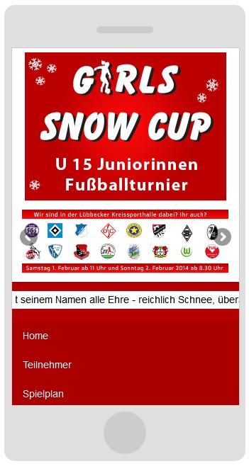 Girlssnowcup.de Webdesign Smartphone Ansicht