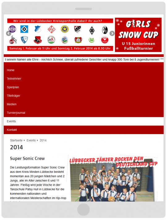 Girlssnowcup.de Webdesign Tablet Ansicht
