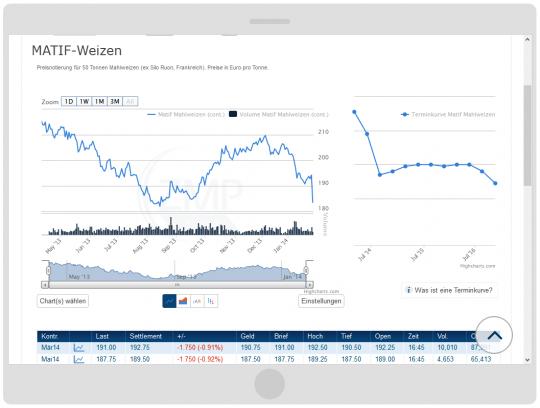 Mobilgerätefähige Darstellung der Charts auf dem Tablet