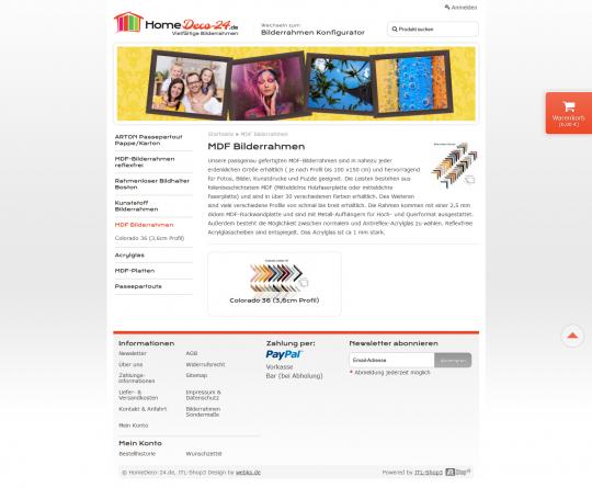 Ansicht einer Shopkategorie im Homedeco-24 Bilderrahmen Onlineshop