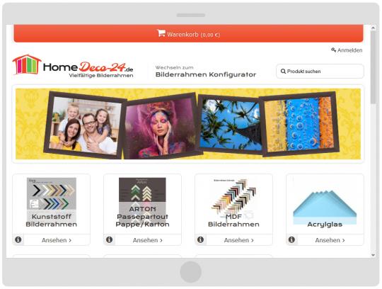 Darstellung auf größeren Tablets im Homedeco-24 Bilderrahmen Onlineshop