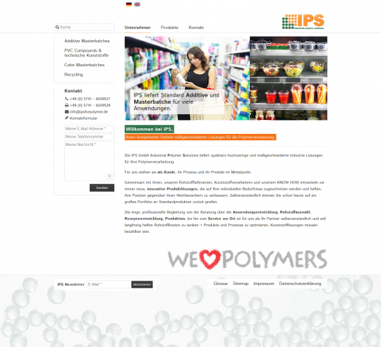 "Startseite samt ""We love polymers"" - Animation"