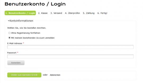 Checkout Login Drupal Commerce Konfigurator Onlineshop Entwicklung