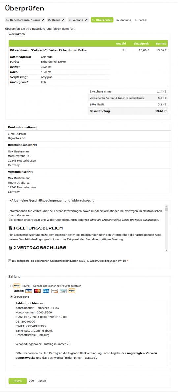 Checkout Review Drupal Commerce Konfigurator Onlineshop Entwicklung