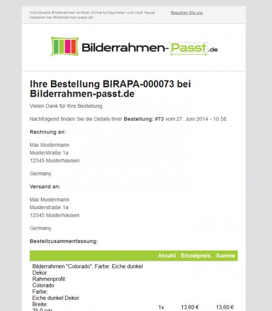 Bestätigungsmail (HTML) Drupal Commerce Konfigurator Onlineshop Entwicklung
