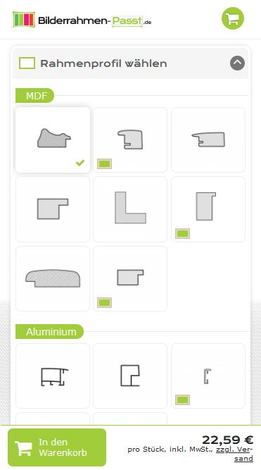 Drupal Commerce Konfigurator Onlineshop Entwicklung Konfigurator auf einem Smartphone: Auswahl Rahmenmodell