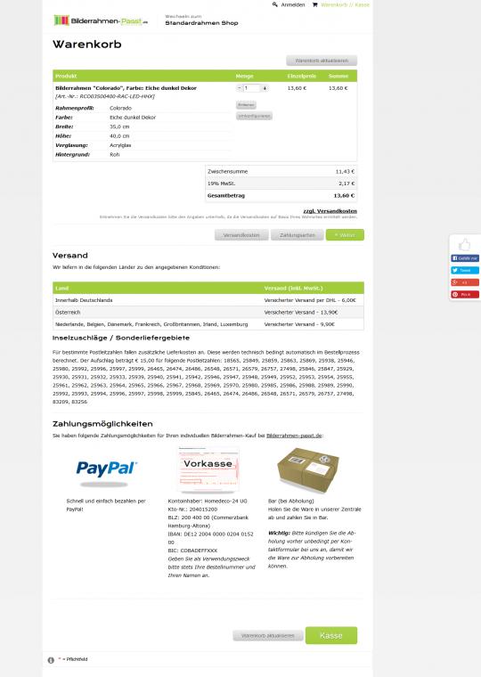 Drupal Commerce Konfigurator Onlineshop Entwicklung Warenkorb, Zahlungs- und Versandinformationen