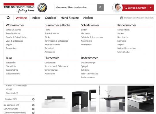 BigMenu bei Zeitlos-Einrichtung.info Onlineshop Webdesign