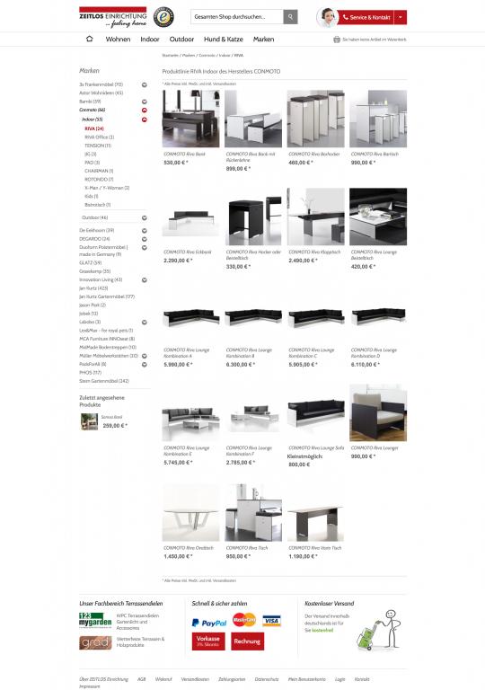 Kategorieansicht Zeitlos-Einrichtung.info Onlineshop Webdesign