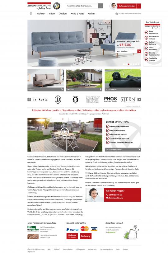 Startseite Zeitlos-Einrichtung.info Onlineshop Webdesign