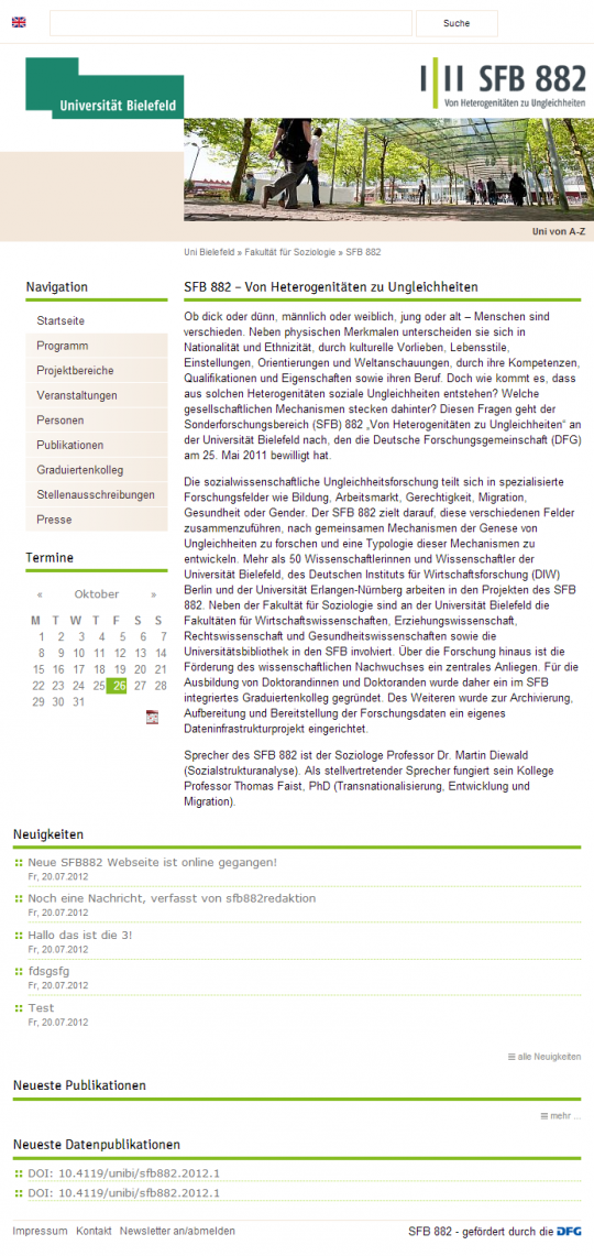 Uni Bielefeld SFB 882 - Webdesign Website Tablet Portrait Ansicht