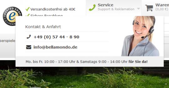 Serviceinformationen von Bellamondo.de